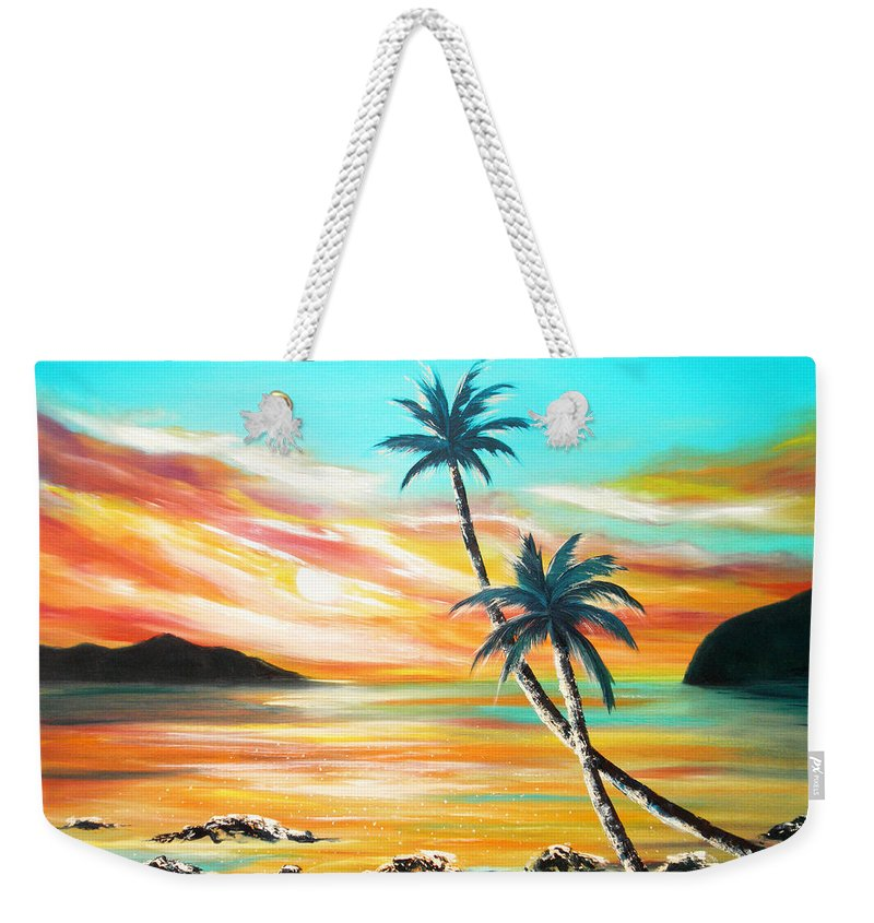 Sunset Weekender Tote Bag featuring the painting Another Sunset In Paradise by Gina De Gorna