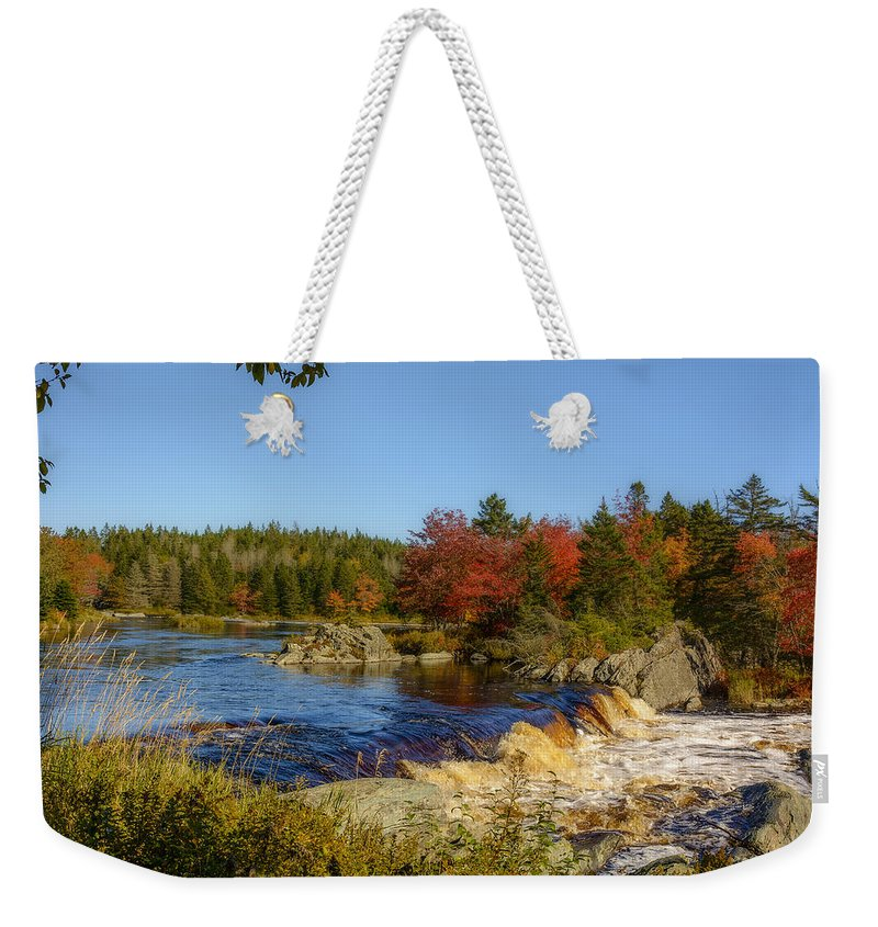 Nova Scotia Weekender Tote Bag featuring the photograph Another View Of Liscombe Falls by Ken Morris