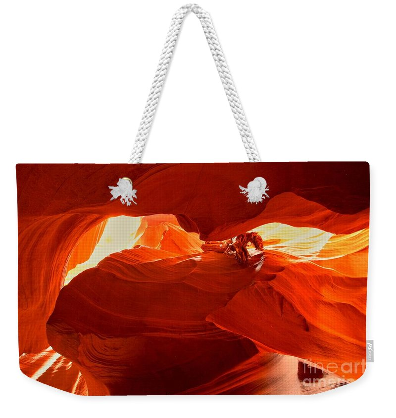 Upper Antelope Canyon Weekender Tote Bag featuring the photograph Antelope Aglow by Adam Jewell