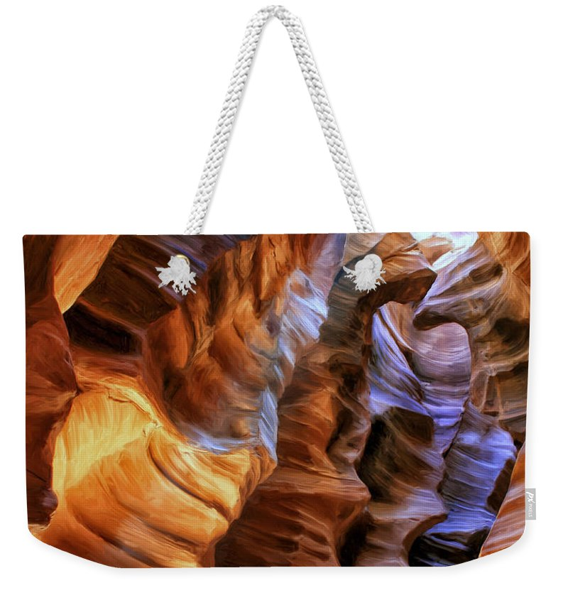 Antelope Canyon Weekender Tote Bag featuring the painting Antelope Canyon by Dominic Piperata
