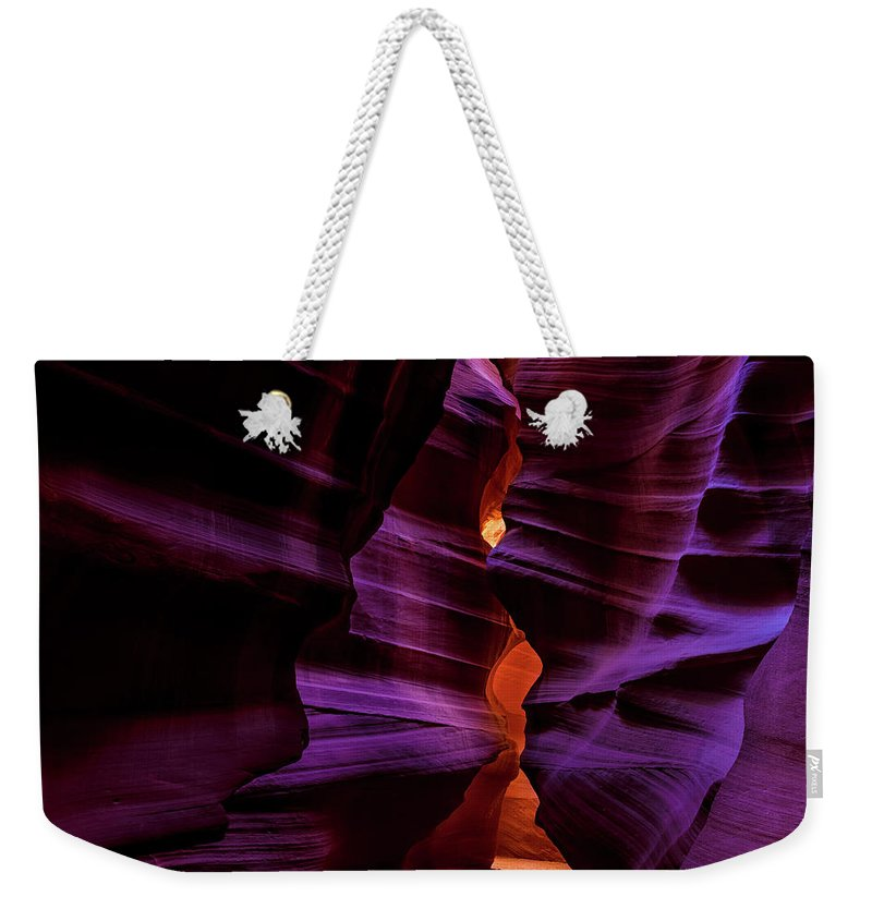 Antelope Canyon Weekender Tote Bag featuring the photograph Antelope Canyon Glow by Dave Koch