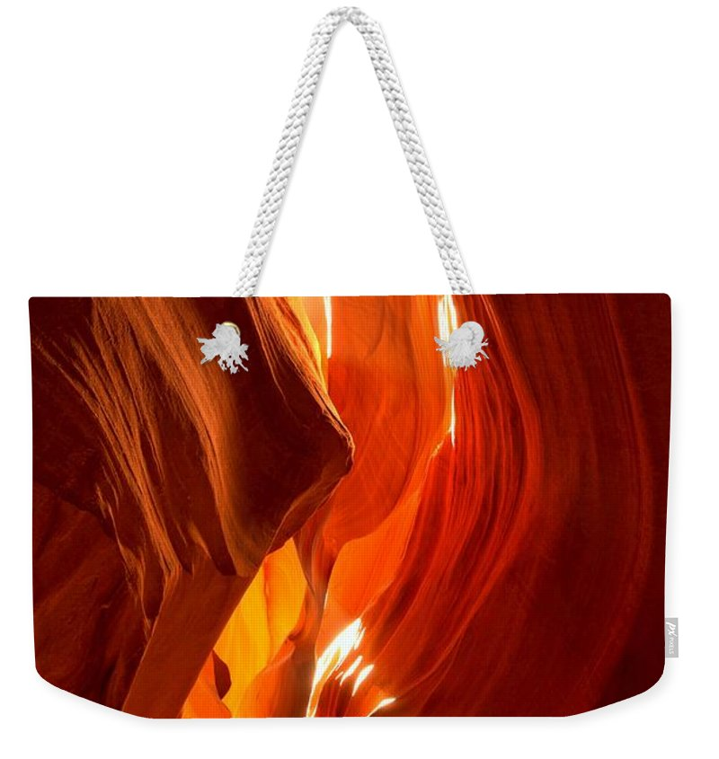 Antelop Canyon Weekender Tote Bag featuring the photograph Antelope Canyon Wavy Abstract by Adam Jewell
