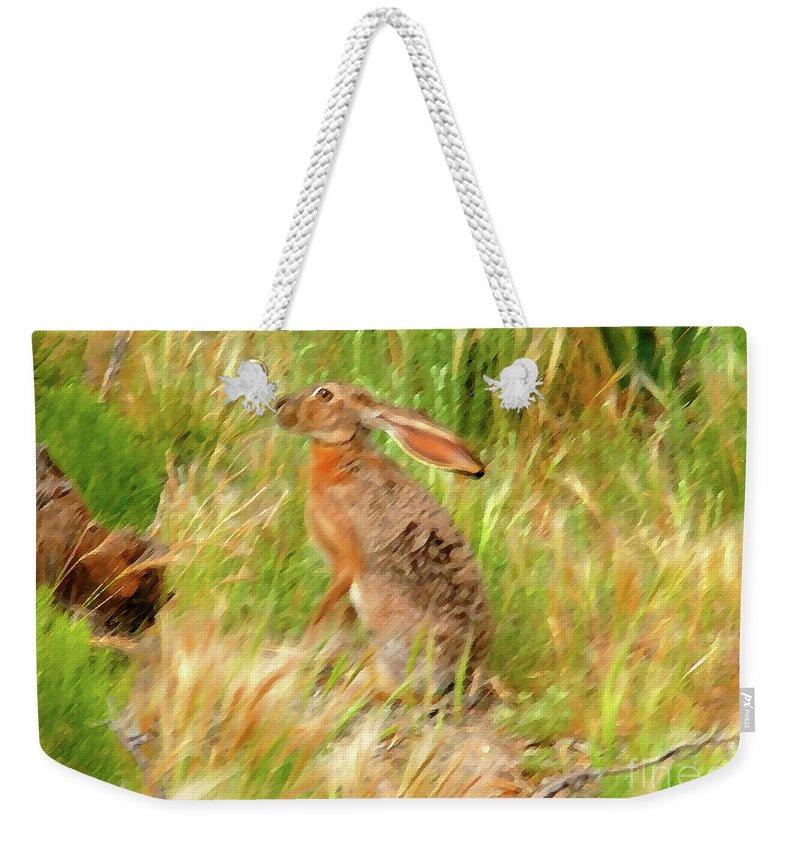 Art Weekender Tote Bag featuring the painting Antelope Jackrabbit by David Lee Thompson