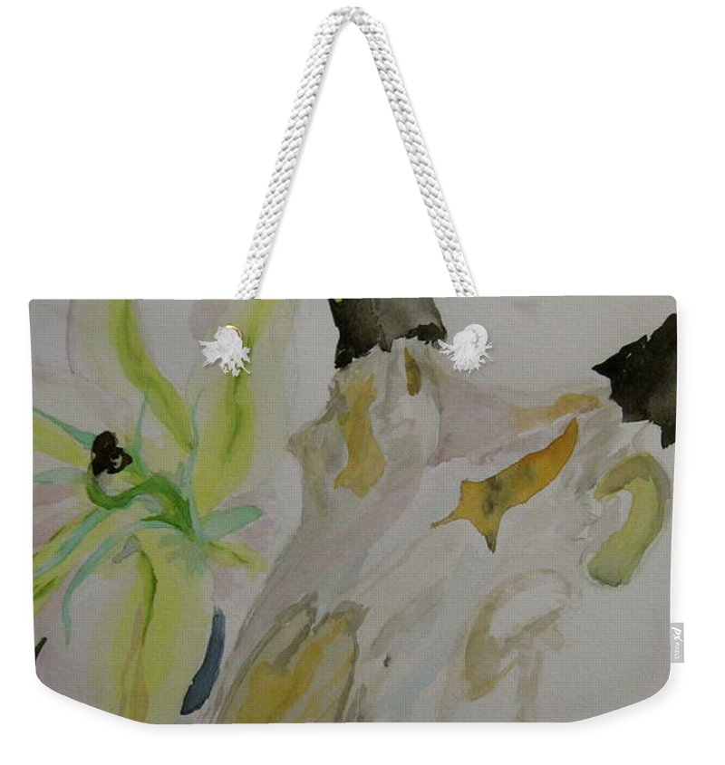 Skull Weekender Tote Bag featuring the painting Antelope Skull Pinecones And Lily by Beverley Harper Tinsley