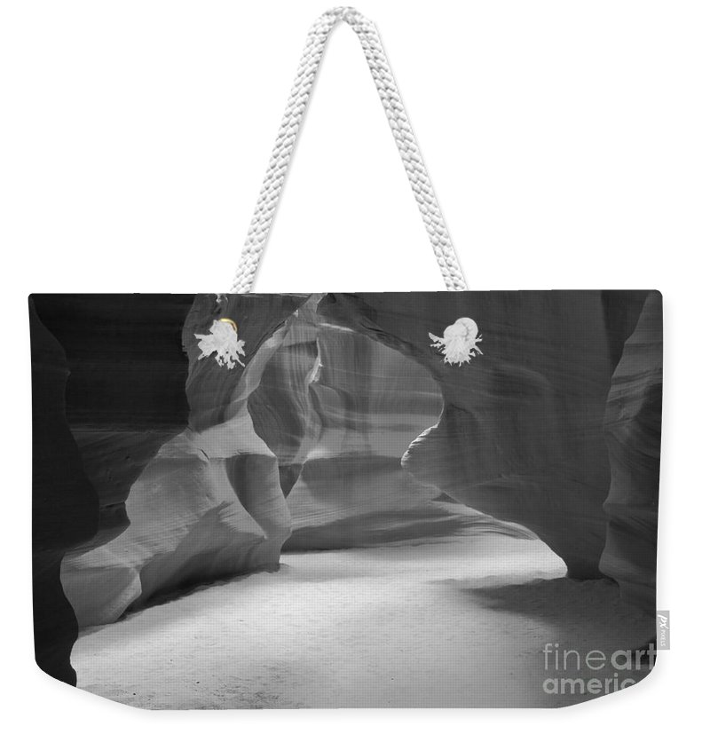 Antelop Canyon Weekender Tote Bag featuring the photograph Antelope Slot Canyon Black And White by Adam Jewell