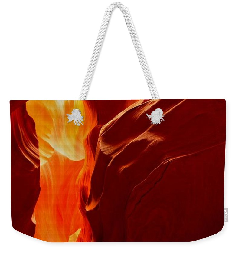 Upper Antelop Weekender Tote Bag featuring the photograph Antelope Textures And Flames by Adam Jewell