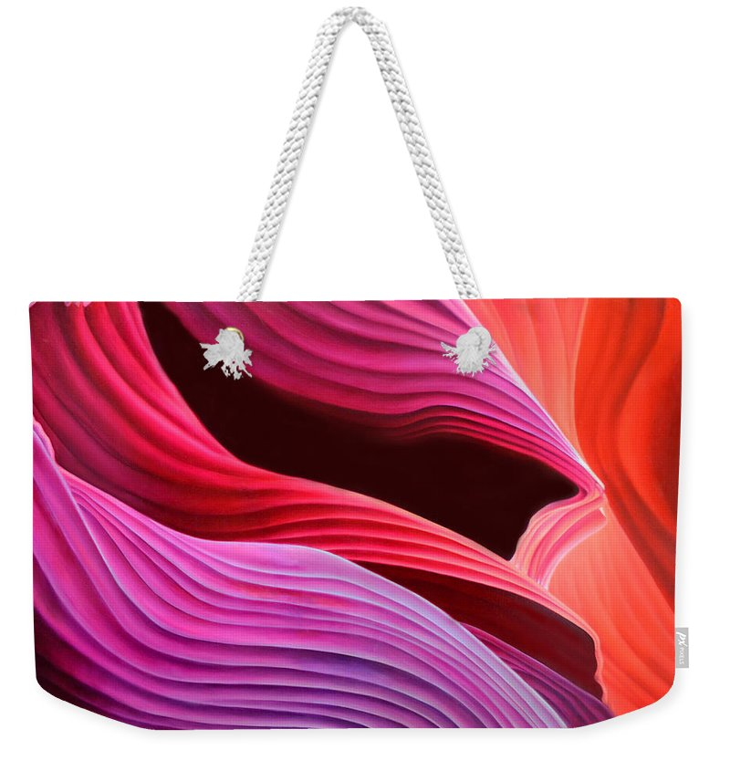 Antelope Canyon Weekender Tote Bag featuring the painting Antelope Waves by Anni Adkins