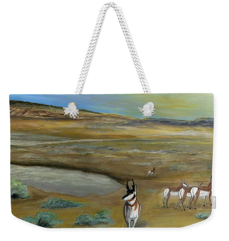 Antelope Weekender Tote Bag featuring the painting Antelopes by Sara Stevenson
