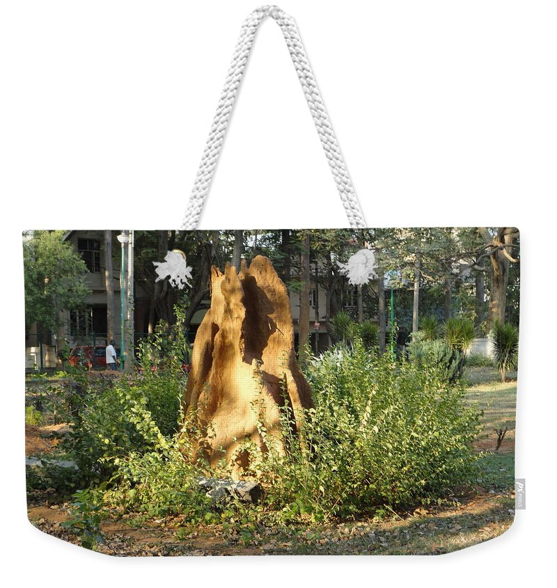 Ant Weekender Tote Bag featuring the photograph Anthill by Usha Shantharam