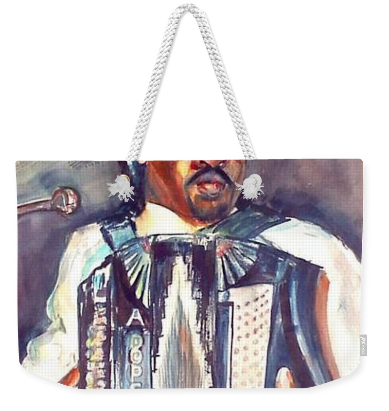 Accordian Weekender Tote Bag featuring the painting Anthony by Beverly Boulet