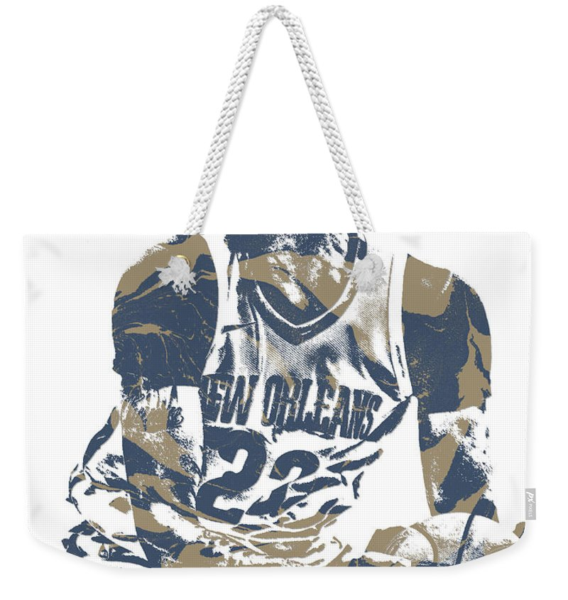 Anthony Davis Weekender Tote Bag featuring the mixed media Anthony Davis New Orleans Pelicans Pixel Art 21 by Joe Hamilton