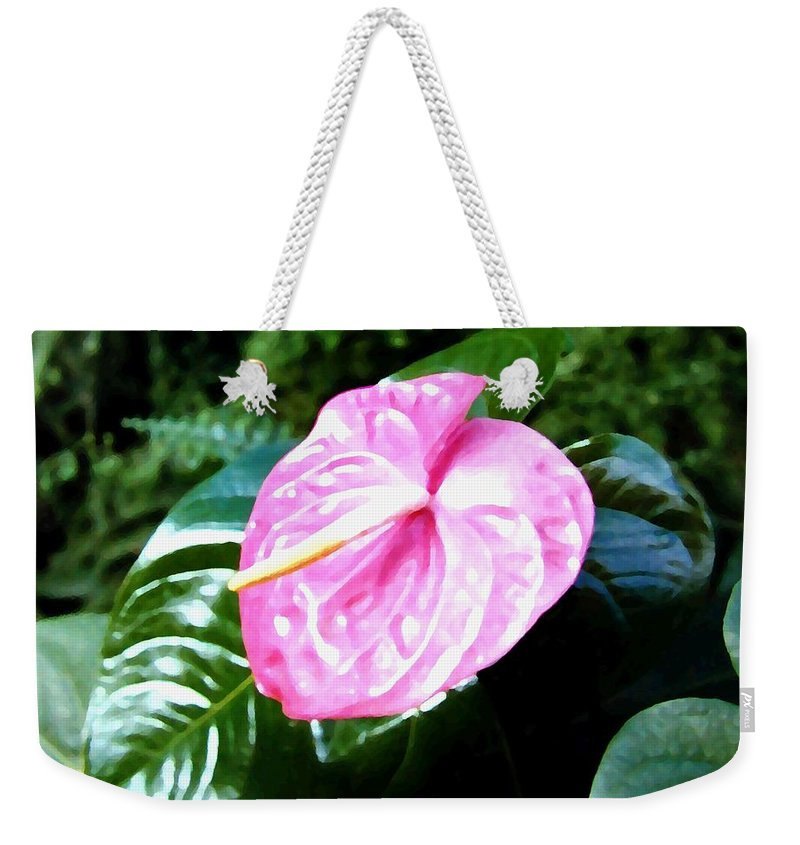 1986 Weekender Tote Bag featuring the digital art Anthurium by Will Borden