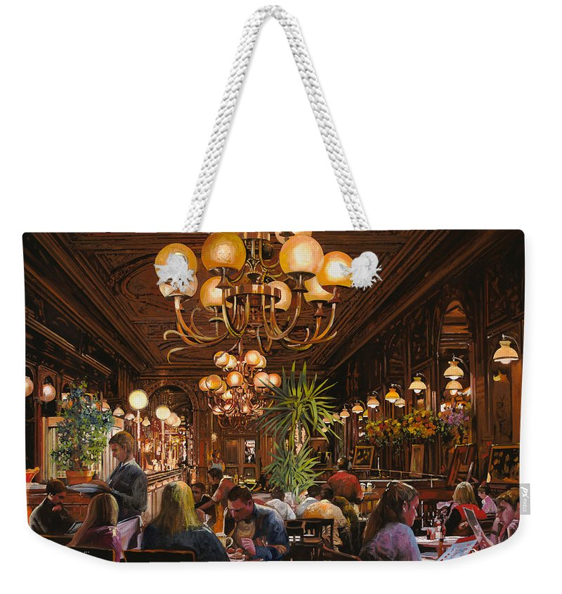 Brasserie Weekender Tote Bag featuring the painting Antica Brasserie by Guido Borelli