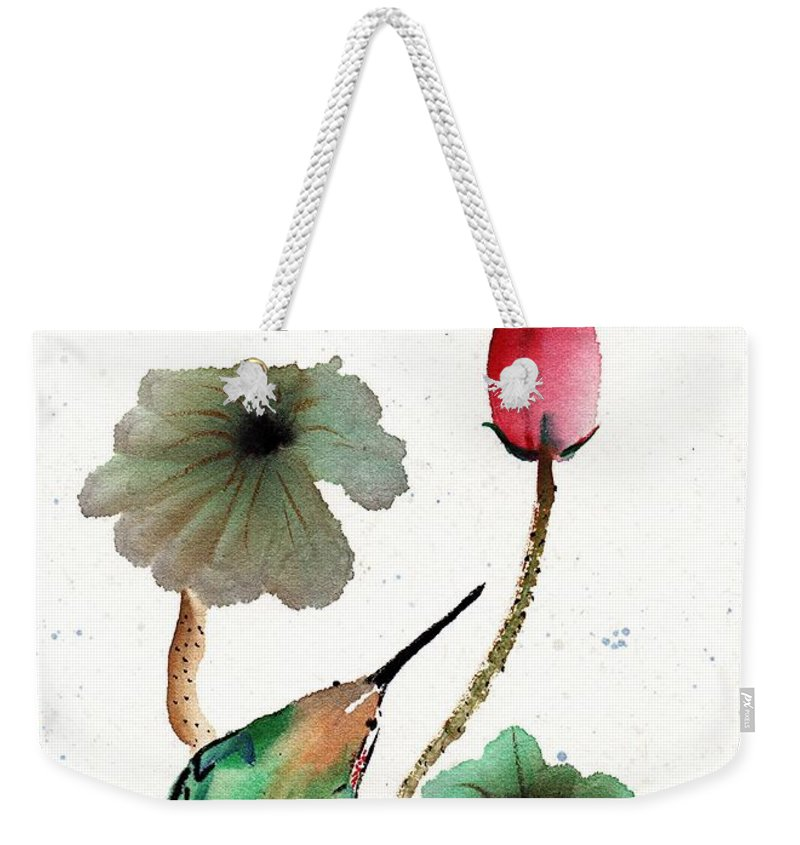 Chinese Brush Painting Weekender Tote Bag featuring the painting Anticipation by Bill Searle