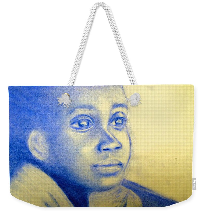 Weekender Tote Bag featuring the drawing Anticipation by Jan Gilmore