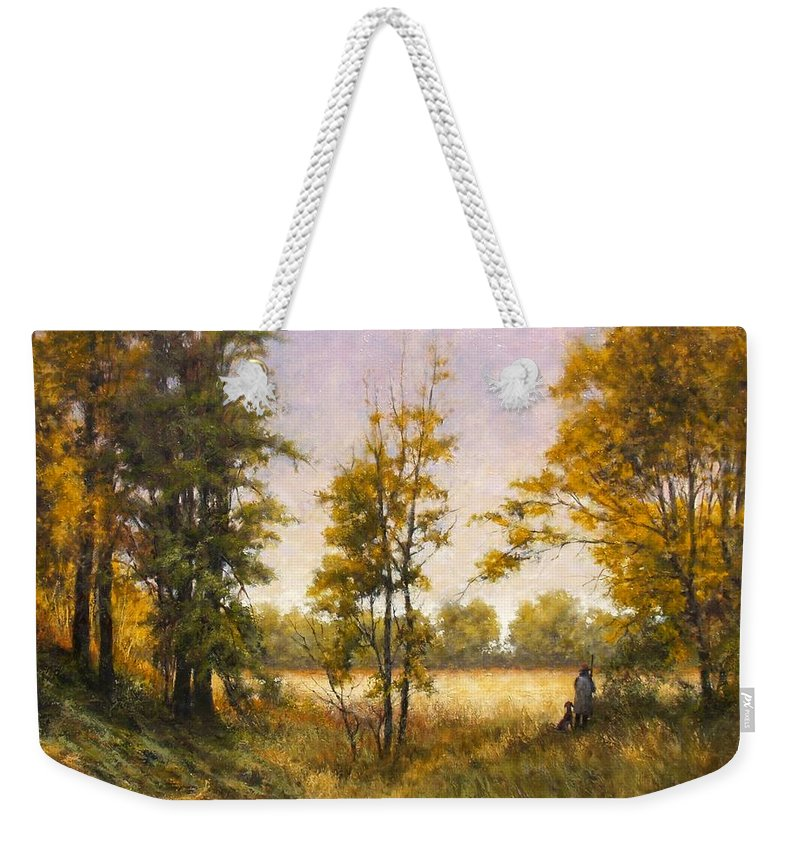 Artist Weekender Tote Bag featuring the painting Anticipation by Jim Gola