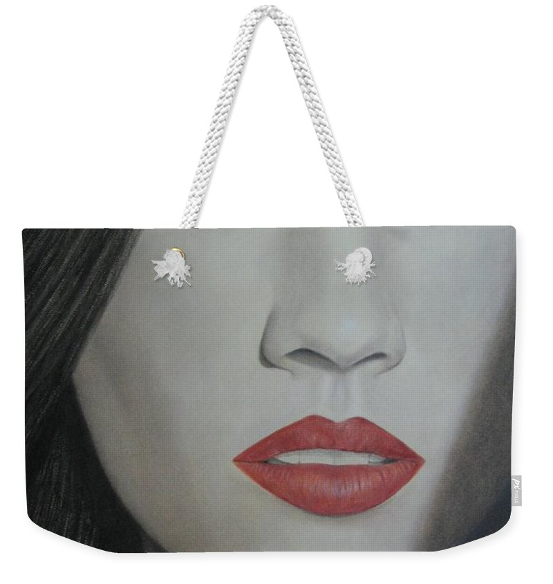 Woman Weekender Tote Bag featuring the painting Anticipation by Lynet McDonald