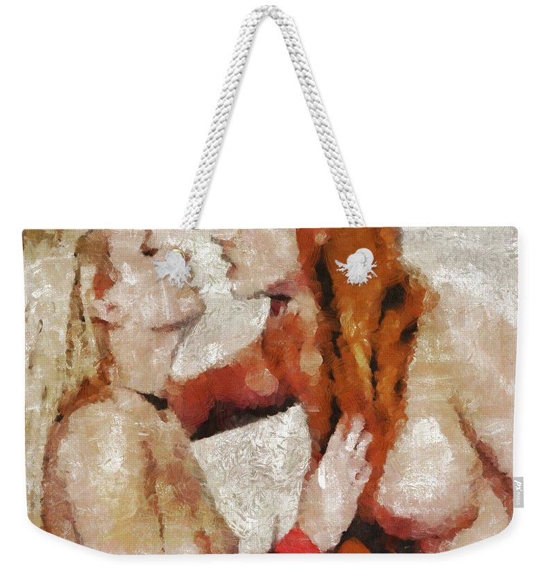 Nude Weekender Tote Bag featuring the painting Anticipation by Mary Bassett