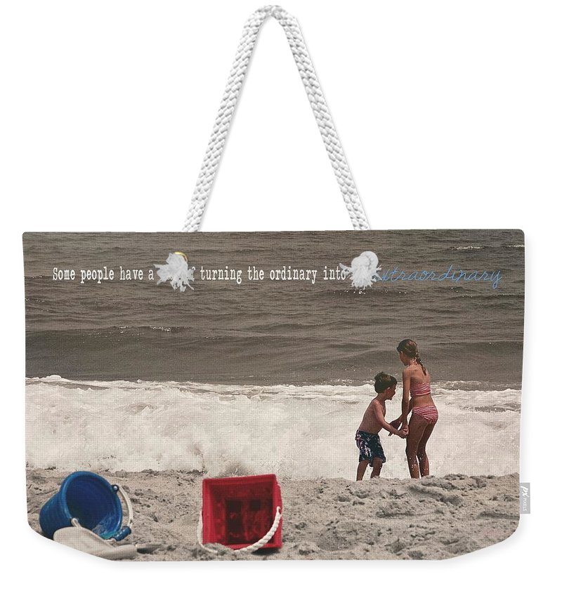 Beach Weekender Tote Bag featuring the photograph Anticipation Quote by JAMART Photography