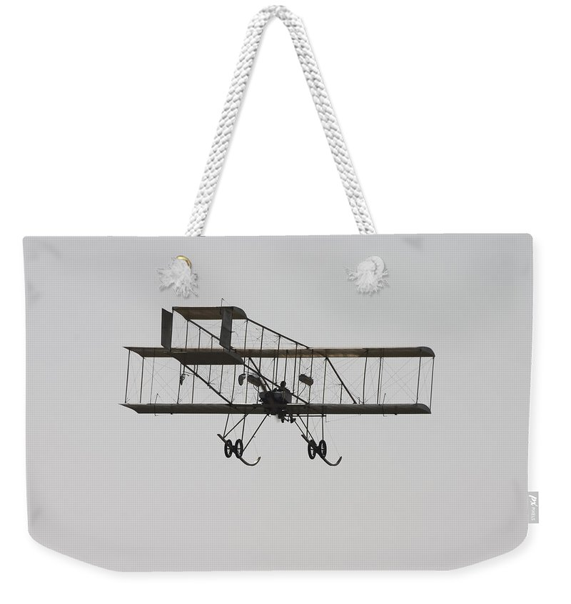 1910 Weekender Tote Bag featuring the photograph Antique 1910 Henri 3 Biplane Airplane Takes Flight Poster Print by Keith Webber Jr