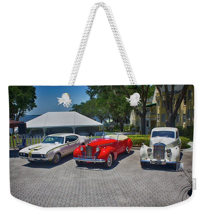 Antique Car Show Weekender Tote Bag featuring the photograph Antique Car Show Series 01 by Carlos Diaz