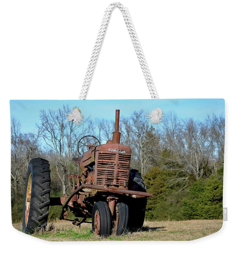 Tractor Weekender Tote Bag featuring the photograph Antique Farmall 1a by Tamra Lockard