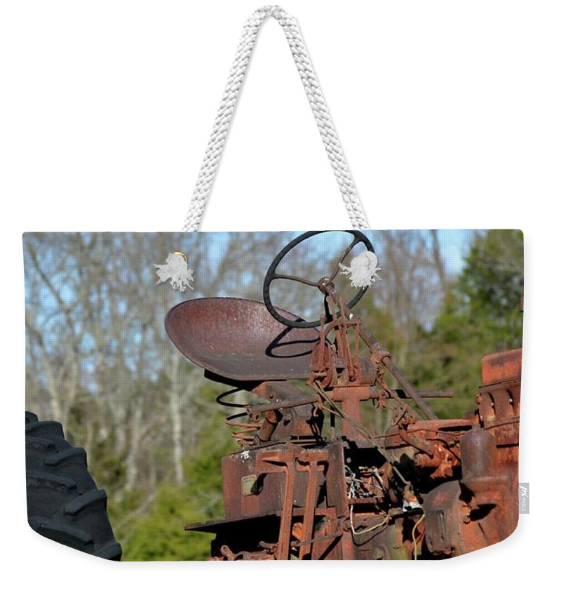 Antique Weekender Tote Bag featuring the photograph Antique Farmall Tractor 4a by Tamra Lockard