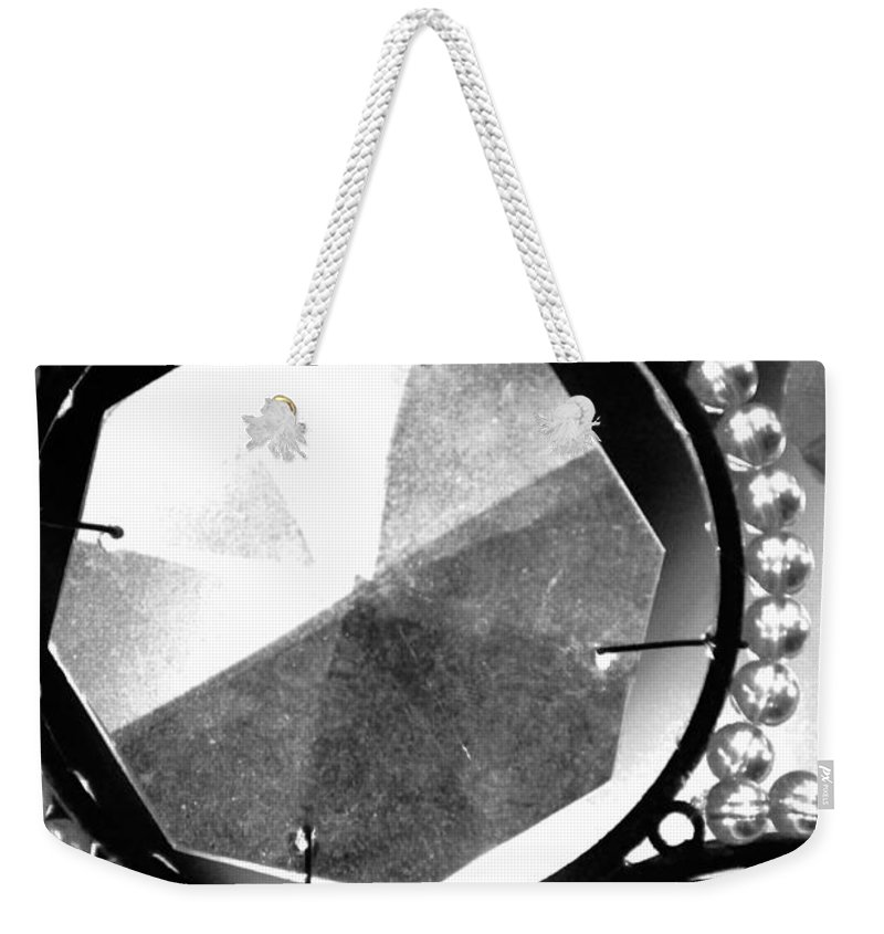 Black And White Weekender Tote Bag featuring the photograph Antique Glass Chandelier by Jill Reger