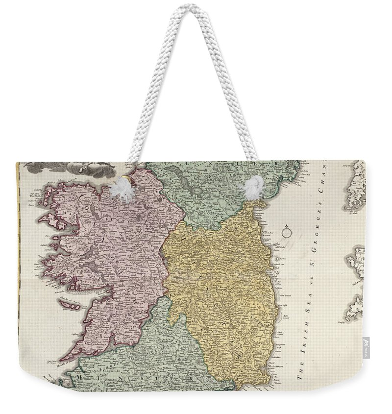 Eire Weekender Tote Bag featuring the drawing Antique Map Of Ireland Showing The Provinces by Johann Baptist Homann