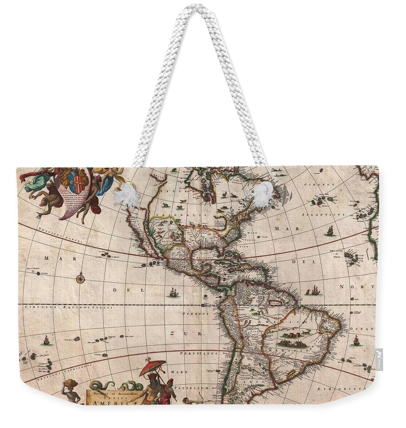 Antique Map Of North America Weekender Tote Bag featuring the drawing Antique Maps - Old Cartographic maps - Antique Map of North and South America, 1658 by Studio Grafiikka