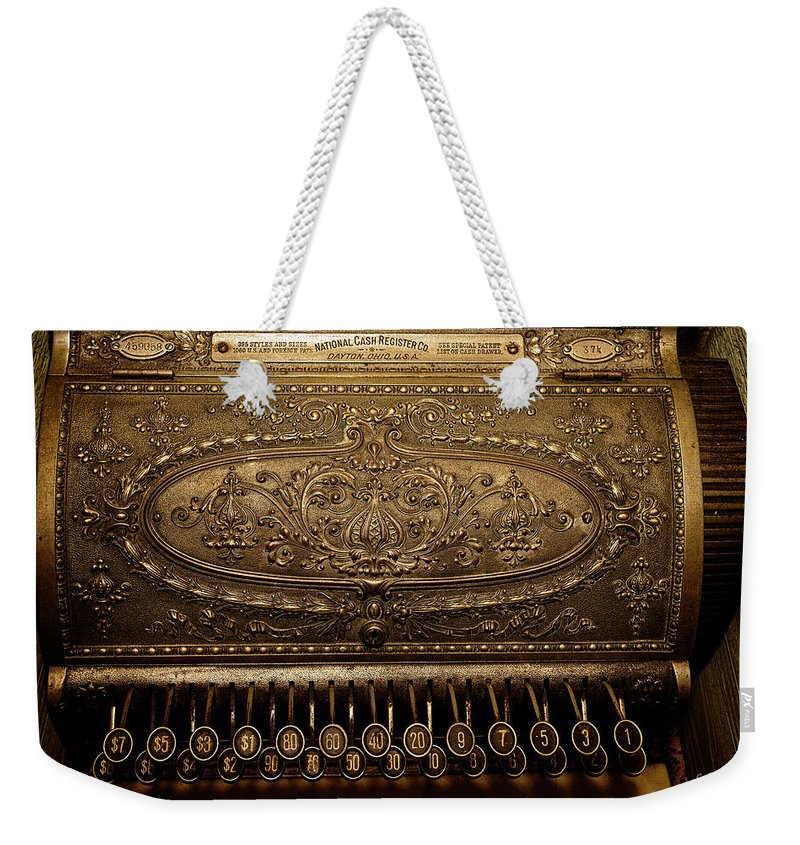 Cash Register Weekender Tote Bag featuring the photograph Antique Ncr by Christopher Holmes
