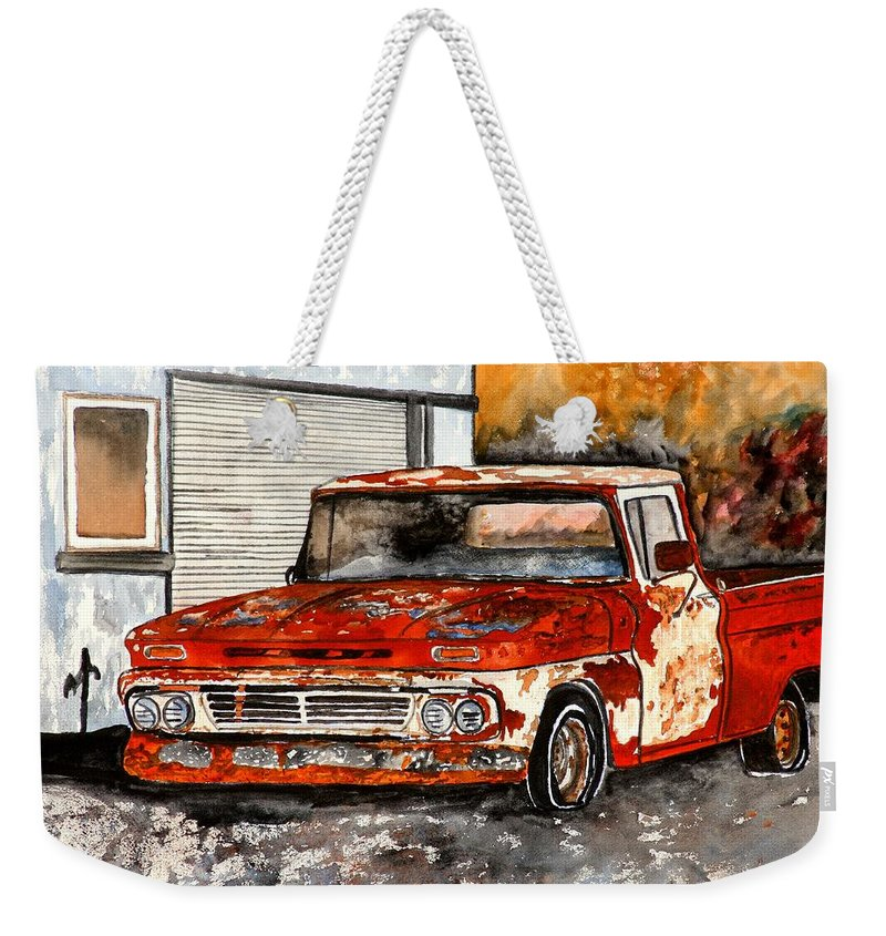 Transportation Weekender Tote Bag featuring the painting Antique Old Truck Painting by Derek Mccrea