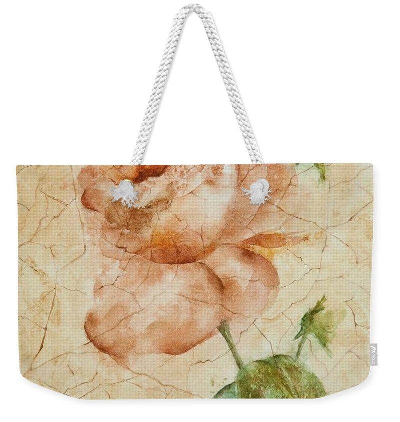 Rose Weekender Tote Bag featuring the painting Antique Rose by Debbie Lewis