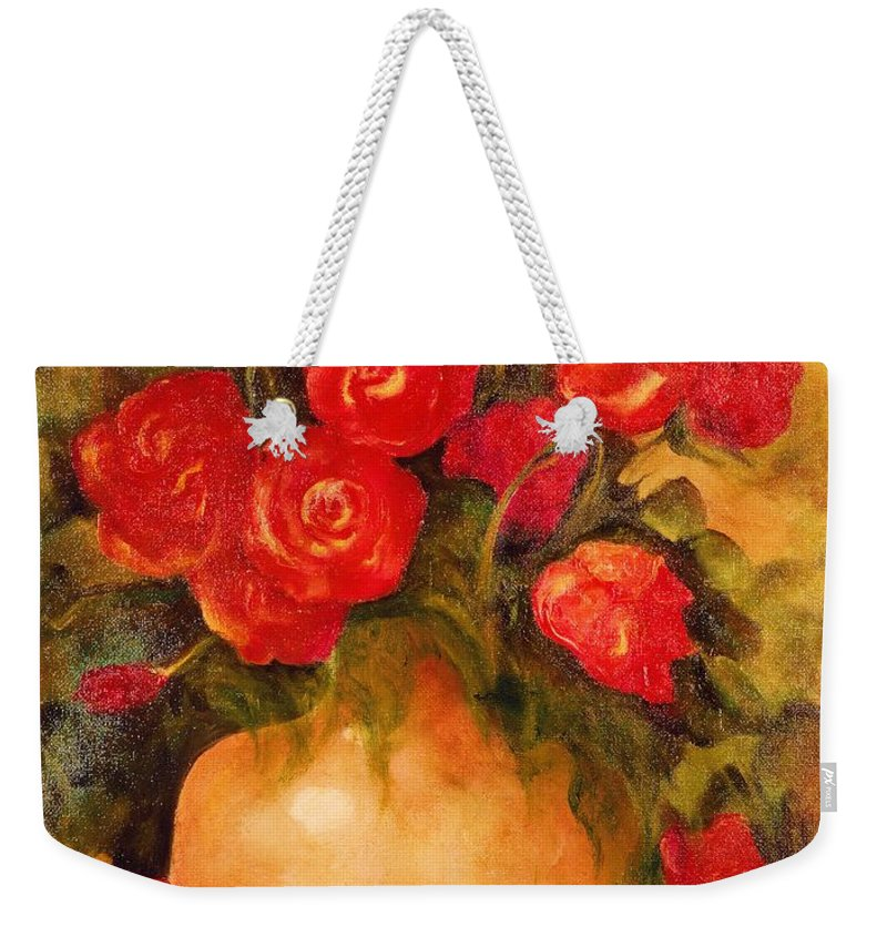 Pretty Weekender Tote Bag featuring the painting Antique Roses by Jordana Sands