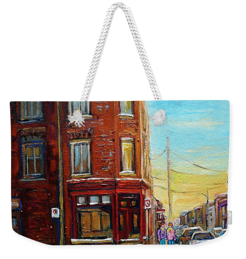 Montreal Weekender Tote Bag featuring the painting Antique Shop In Saint Henri by Carole Spandau