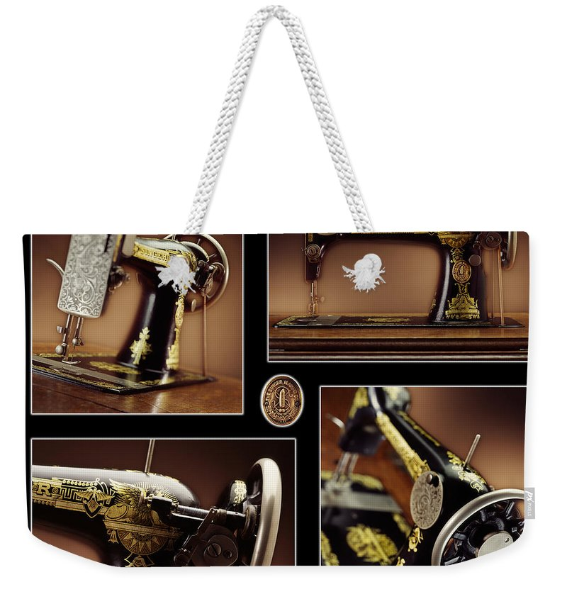 Antique Sewing Machine Weekender Tote Bag featuring the photograph Antique Singer by Kelley King