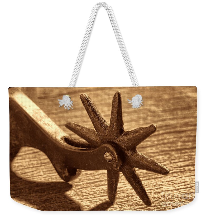 Spur Weekender Tote Bag featuring the photograph Antique Star Spur by American West Legend By Olivier Le Queinec