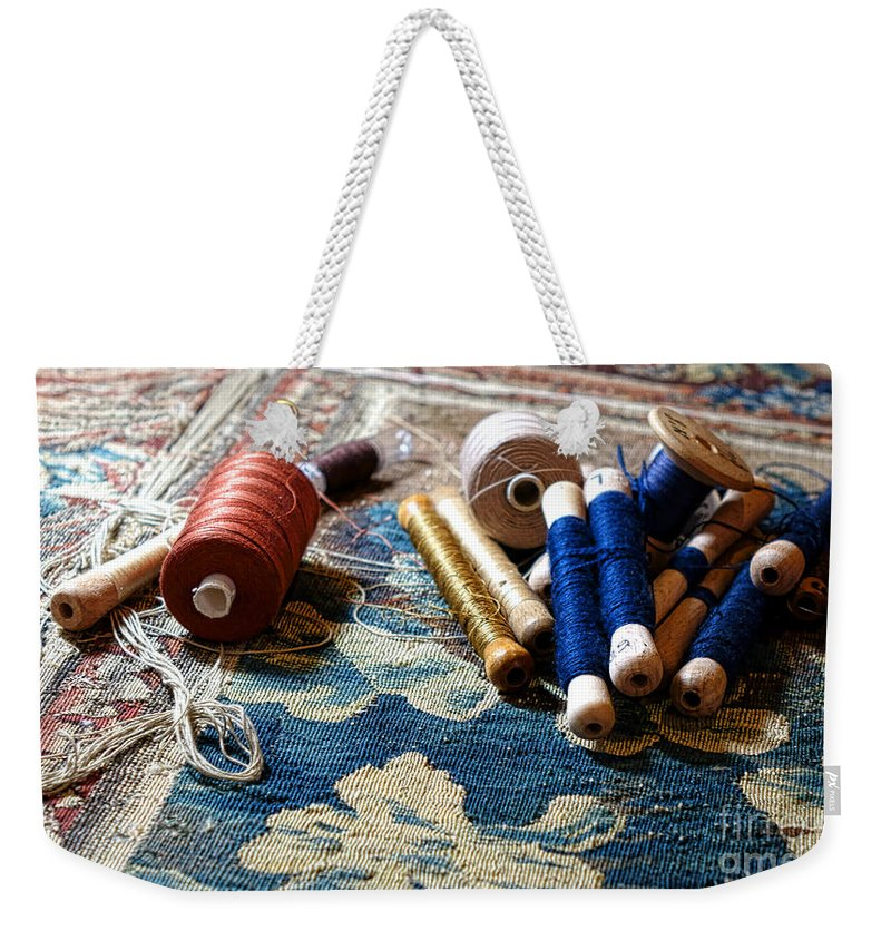 Tapestry Weekender Tote Bag featuring the photograph Antique Tapestry Repair by Olivier Le Queinec