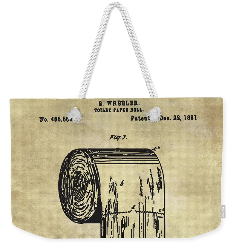 Antique toilet paper roll blueprint patent illustration weekender bathroom art weekender tote bag featuring the painting antique toilet paper roll blueprint patent illustration by malvernweather Gallery