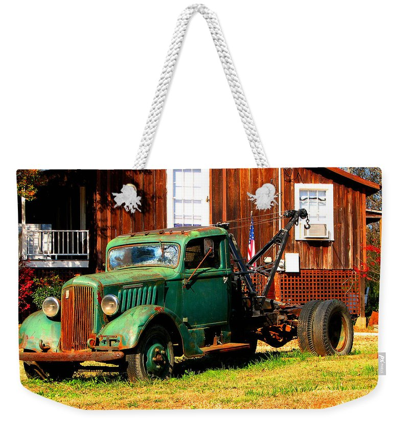 Tow Truck Weekender Tote Bag featuring the photograph Antique Tow Truck by Barbara Bowen