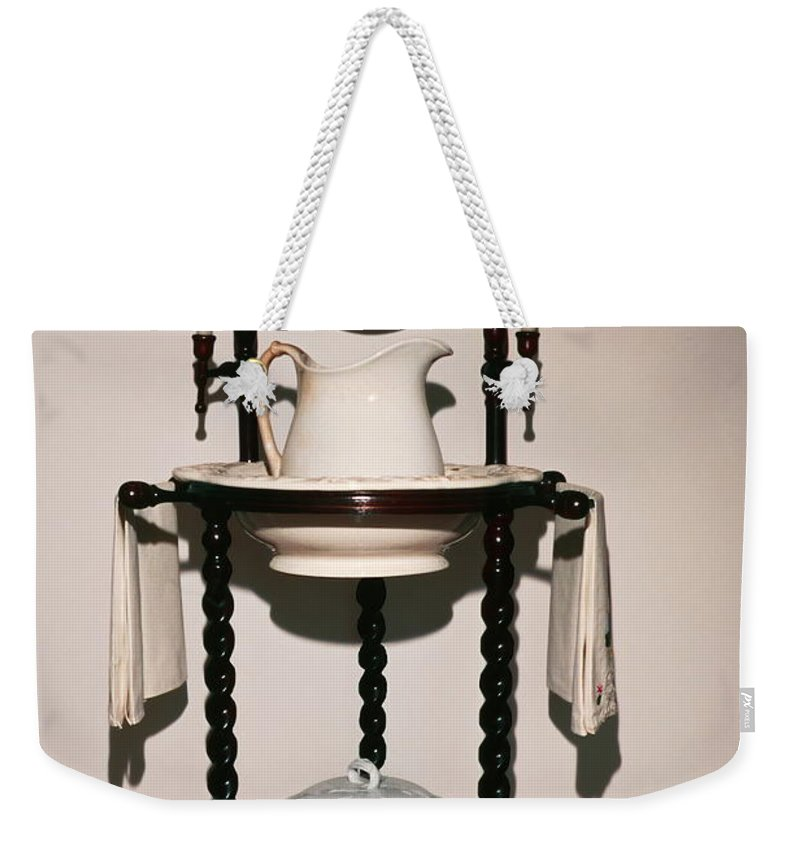 Lavabo Weekender Tote Bag featuring the photograph Antique Wash Stand by Sally Weigand