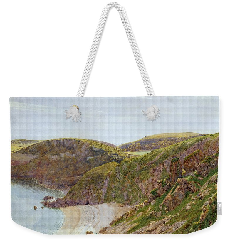 Anstey Weekender Tote Bag featuring the painting Antsey's Cove South Devon by George Price Boyce