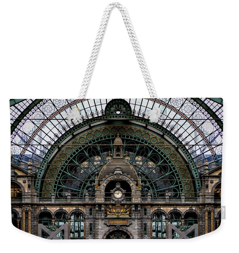 Antwerp Train Station Weekender Tote Bag featuring the photograph Antwerp Train Terminal by Doug Sturgess