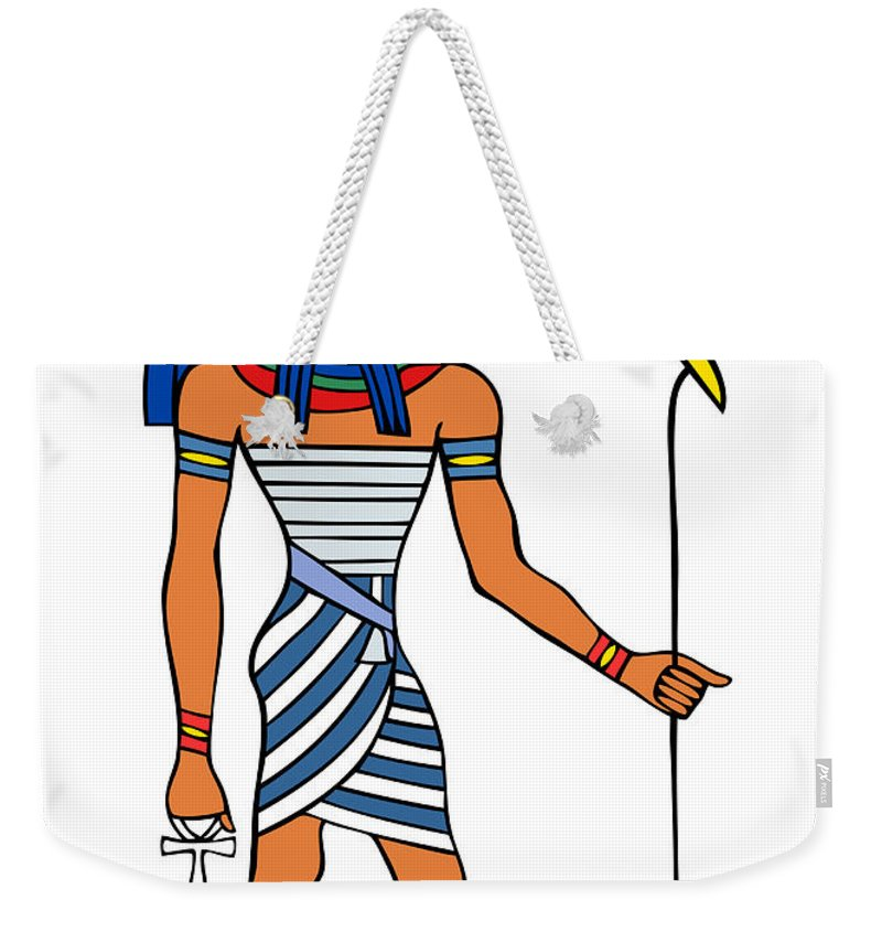 Relief Weekender Tote Bag featuring the drawing Anubis by Michal Boubin