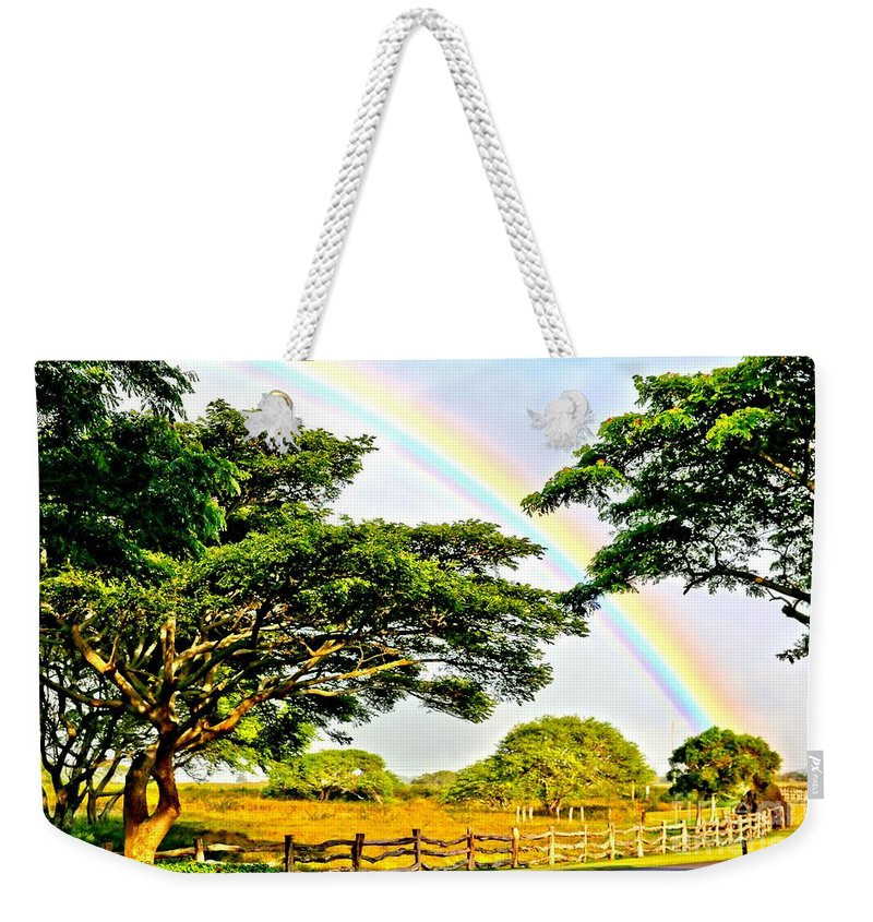 Polynesia Weekender Tote Bag featuring the photograph Anuenue by DJ Florek