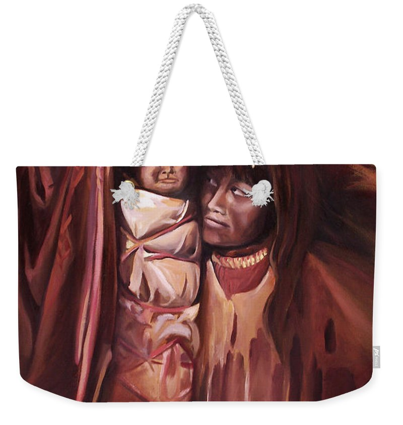 Native American Weekender Tote Bag featuring the painting Apache Girl And Papoose by Nancy Griswold