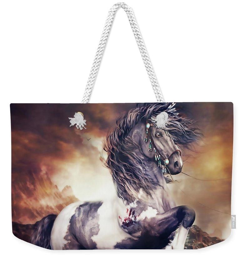 Apache War Horse Weekender Tote Bag featuring the digital art Apache War Horse by Shanina Conway