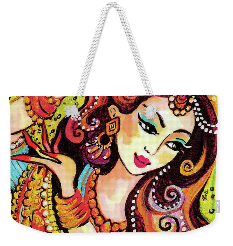 Indian Woman Weekender Tote Bag featuring the painting Abhinaya by Eva Campbell