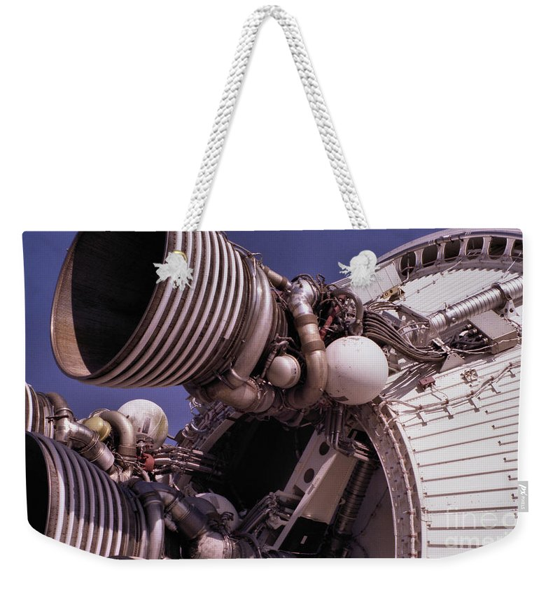 Technology Weekender Tote Bag featuring the photograph Apollo Rocket Engine by Richard Rizzo