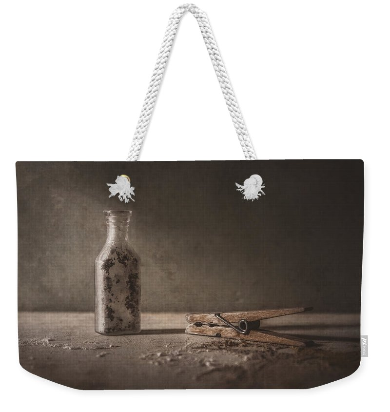 Scott Norris Photography Weekender Tote Bag featuring the photograph Apothecary Bottle And Clothes Pin by Scott Norris